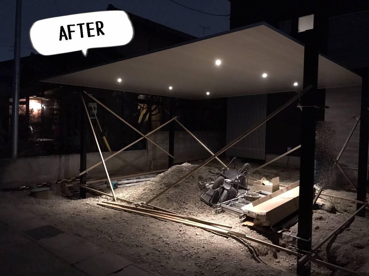 更埴トーヨー住器の2台駐車が出来て、ロング柱 照明付き 住宅に合うカーポートを希望(長野市富竹)の施工後の写真1
