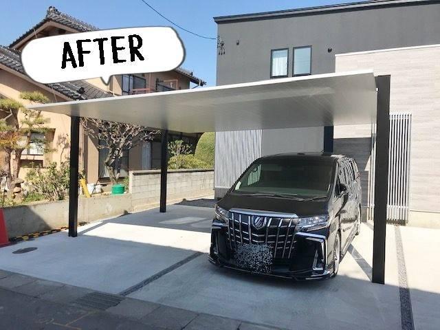 更埴トーヨー住器の2台駐車が出来て、ロング柱 照明付き 住宅に合うカーポートを希望(長野市富竹)の施工後の写真2